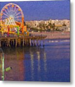 Santa Monica Pacific Park Pier And Lowes Hotel Metal Print