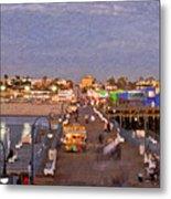 Santa Monica Pacific Park Pier Skyline Panoramic Metal Print