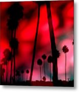 Santa Monica Palms Fiery Red Sunrise Silhouette Metal Print