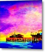 Santa Monica Pier A Night Metal Print