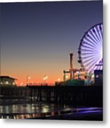 Santa Monica Pier At Sunset Metal Print
