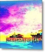 Santa Monica Pier In Blue Metal Print