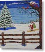 Santa On Skis Metal Print