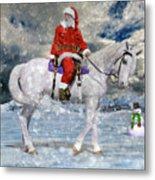 Santa Rides To Town Metal Print