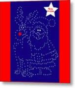 Santa Rudolph Stars Blue 2 Metal Print