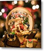 Santa Snow Globe Metal Print