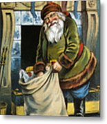Santa Unpacks His Bag Of Toys On Christmas Eve Metal Print