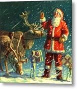Santas And Elves Metal Print