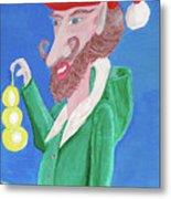 Santa's Ornament Painter Elf Metal Print