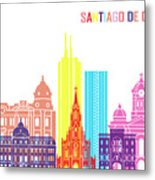 Santiago De Cali Skyline Pop Metal Print