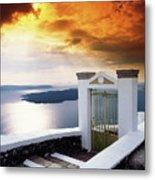 Santorini - The Gate Metal Print