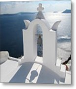 Santorini Bell Tower Casts Shadow Metal Print