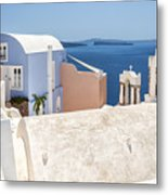 Santorini Blue House In Oia Metal Print