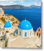 Santorini Oia Church Caldera View Digital Painting Metal Print