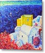 Santorini Oia Colors Modern Impressionist Impasto Palette Knife Oil Painting By Ana Maria Edulescu Metal Print