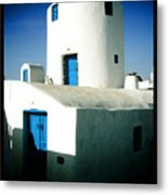 Santorini Silo With Border Metal Print