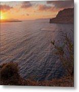 Santorini Sunset Caldera Metal Print