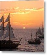 Santorini Sunset Sails Metal Print