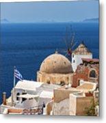 Santorini Windmill And Church Metal Print