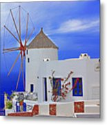 Santorini Windmills Metal Print