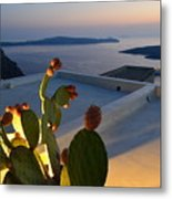 Santorini.fira Sunset Metal Print