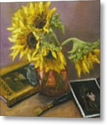 Sargent And Sunflowers Metal Print