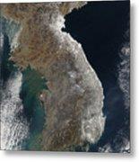 Satellite View Of Snowfall Along South Metal Print
