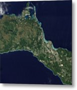 Satellite View Of The Island Of Guam Metal Print