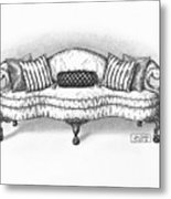 Satin Chippendale English Sofa Metal Print