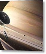 Saturn Flyby Metal Print