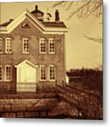 Saugerties Lighthouse Sepia Metal Print