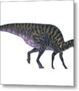 Saurolophus On White Metal Print