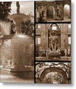 Savannah Landmarks In Sepia Metal Print