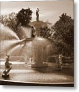 Savannah Sepia - Forsyth Fountain Metal Print