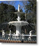 Savannah Square Fountain Metal Print