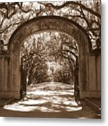 Savannaha Sepia - Wormsloe Plantation Gate Metal Print