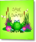 Save The Swamp Twitchy The Frog Metal Print