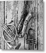 Sax French Horn And Trumpet Metal Print