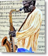 Sax Man With A Yellow Hat Metal Print