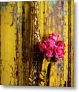 Saxophone And Roses On Wall Metal Print