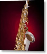 Saxophone On Red Spotlight Metal Print by M K  Miller