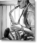 Saxophone Player Metal Print by Laura Rispoli
