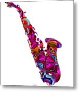 Saxophone With Shadow White Background Metal Print