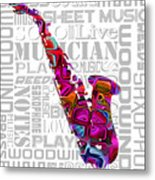 Saxophone With Word Background Metal Print