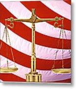 Scales Of Justice American Flag Metal Print