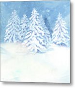 Scandinavian Winter Snowy Trees Hygge Metal Print