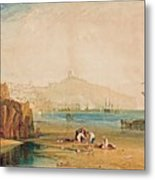 Scarborough Town And Castle Morning Boys Catching Crabs Metal Print