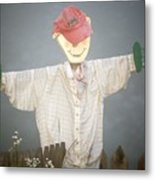 Scarecrow In Fog Metal Print