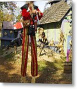 Scarecrow Walking On Stilts Metal Print