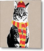 Scarf Weather Cat- Art By Linda Woods Metal Print